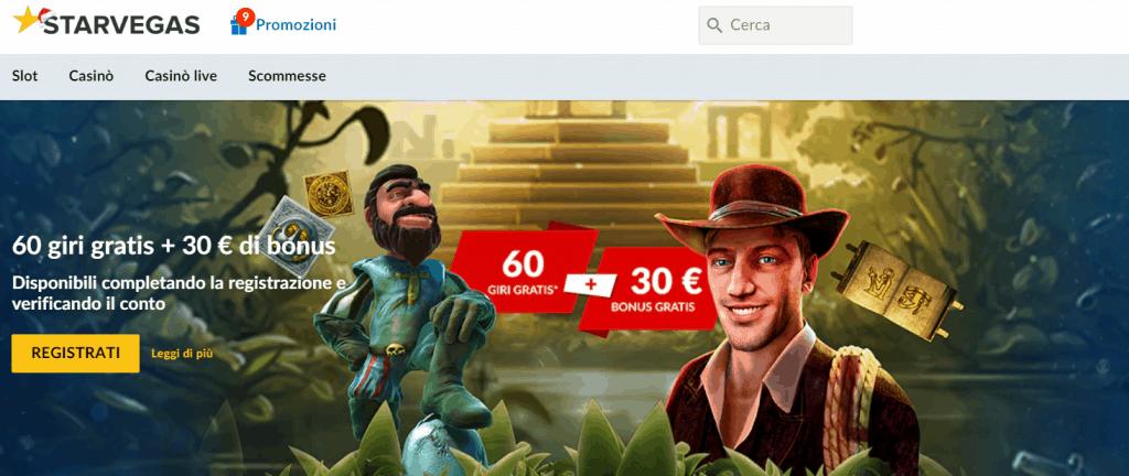 starvegas 30€ bonus senza deposito alla registrazione + 60 giri per le slot machines