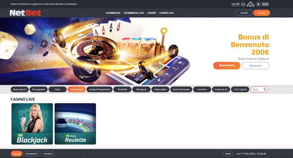Il casino dal vivo di NetBet presenta diversi tavoli virtuali