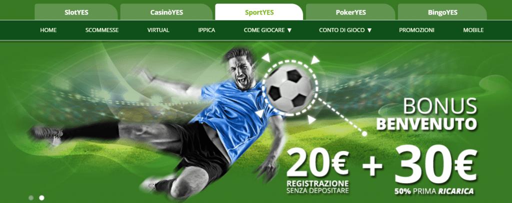 scommesse sportive sezione SportYES