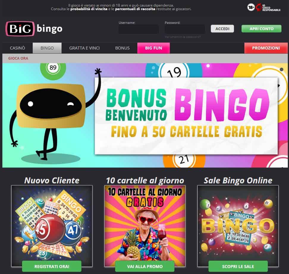 gioca a bingo su Bigcasino