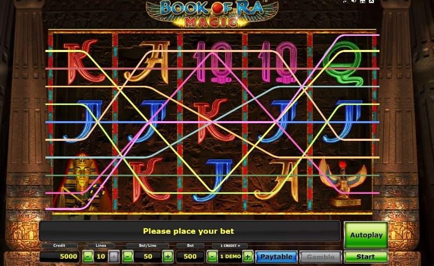 I simboli della slot online Book of Ra Magic