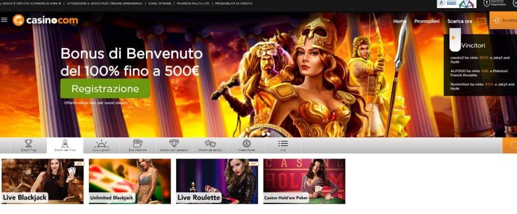 Il casino dal vivo di casino.com presenta diversi tavoli virtuali
