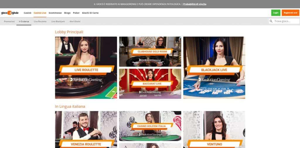 Il casino dal vivo di gioco digitale presenta diversi tavoli virtuali