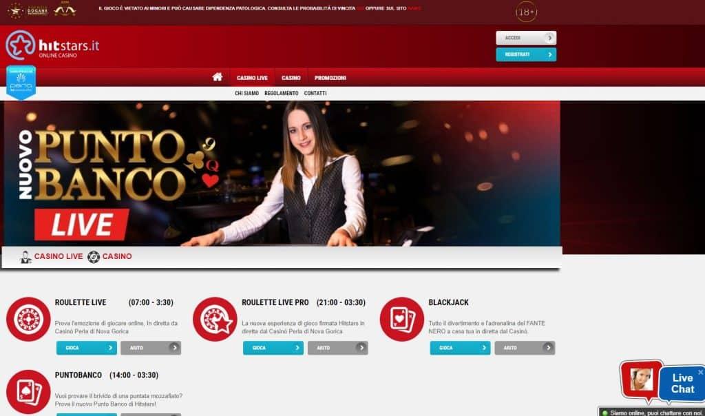 Il casino dal vivo di Hitstars presenta diversi tavoli virtuali