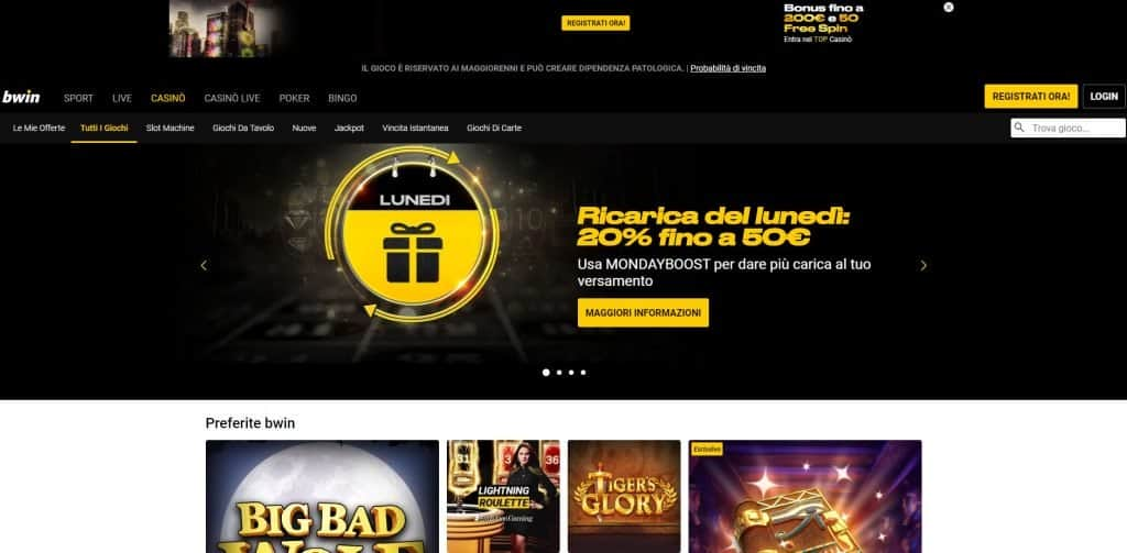 Slot machines su Bwin