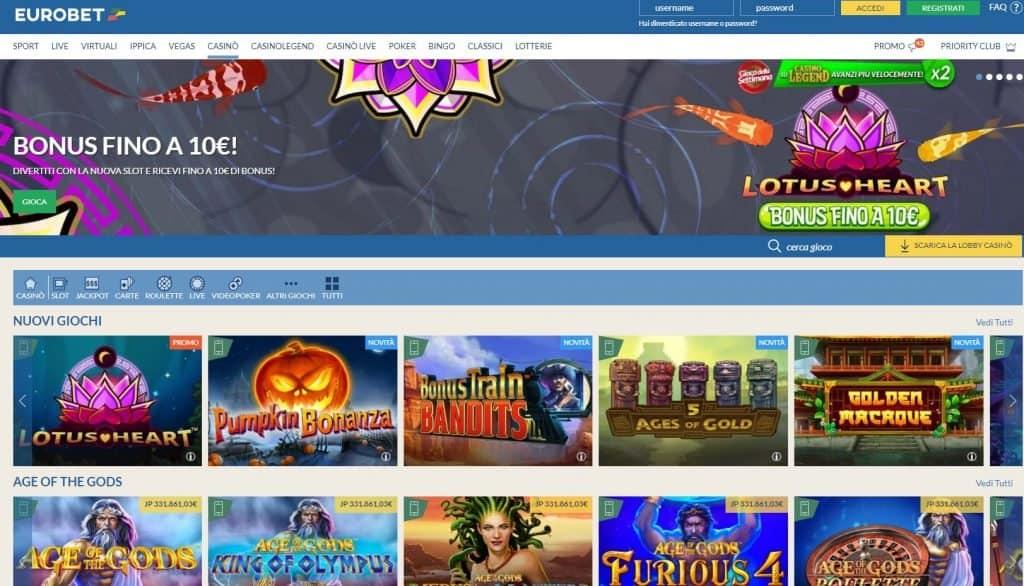 Slot machines su Eurobet