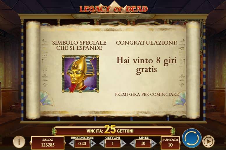 Oltre al gioco normale, a Legacy of the Dead hai la possibilità di vincere delle partite bonus