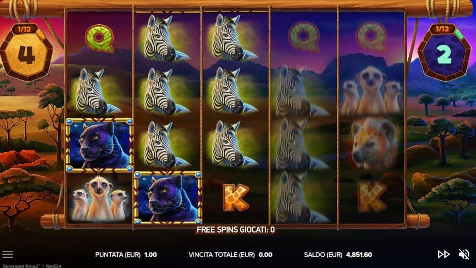 Oltre al gioco normale, a Serengeti Kings hai la possibilità di vincere delle partite bonus