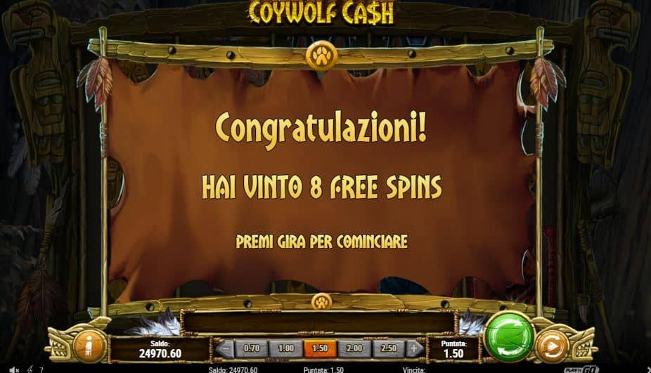 Oltre al gioco normale, a Coywolf Cash hai la possibilità di vincere delle partite bonus
