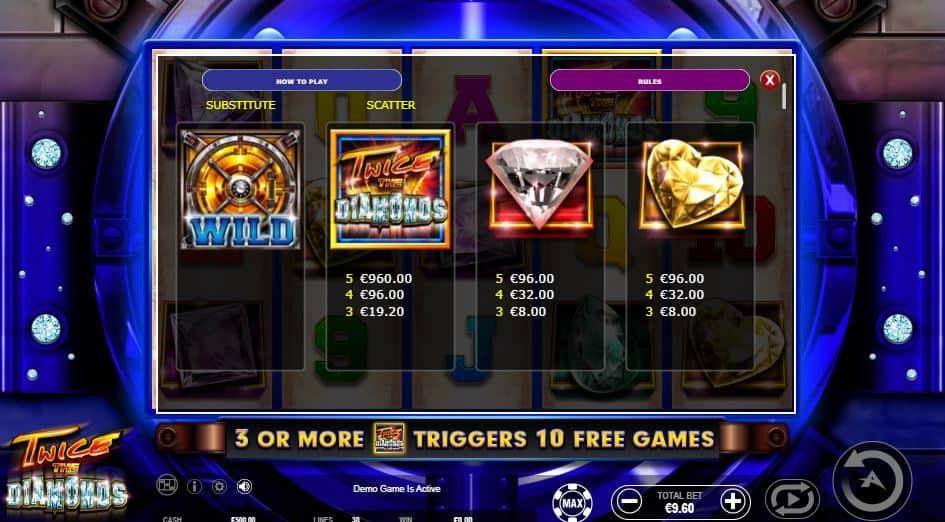 Tabella dei pagamenti della slot Twice the Diamonds